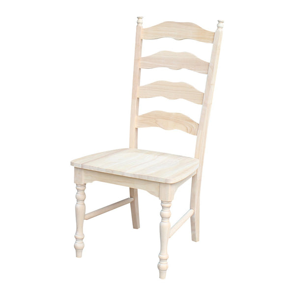 Unfinished Maine Ladderback Hardwood Chair with Upholstered Seat - 2 Pack