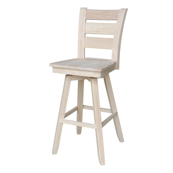 "Tuscany 30"" Hardwood Swivel Bar Stool - UnfinishedFurnitureExpo"