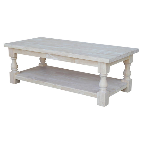 "Tuscan Hardwood Coffee Table - 56"" - UnfinishedFurnitureExpo"