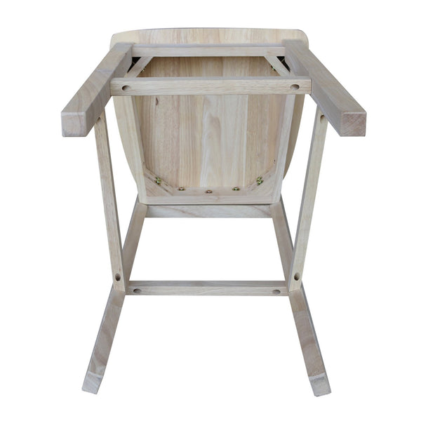 "30"" Hardwood Slat Back Bar Stool - UnfinishedFurnitureExpo"