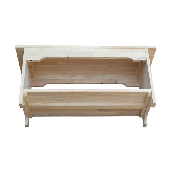 "Unfinished Solid Hardwood Bedside Bench: 36"" (Free Shipping) BE-36"