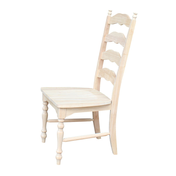 Unfinished Maine Ladderback Hardwood Chair with Upholstered Seat - 2 Pack - UnfinishedFurnitureExpo
