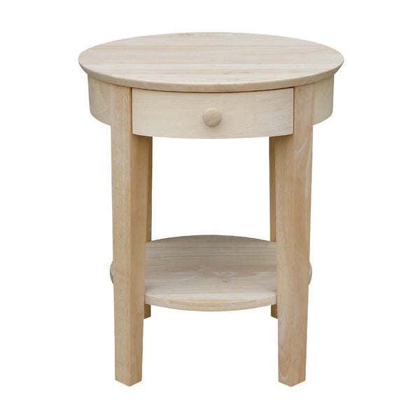 """Phillips"" Round End Table with Drawer - 21"" - UnfinishedFurnitureExpo"