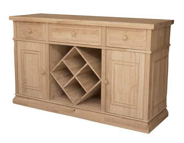 "Sturbridge Hardwood Buffet with Wine Rack - 60"" - UnfinishedFurnitureExpo"