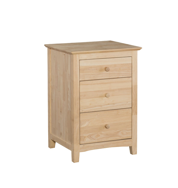 Lancaster 3 Drawer Hardwood Night Stand - UnfinishedFurnitureExpo