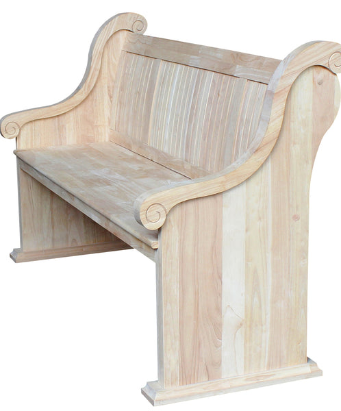 Solid Hardwood Sanctuary Bench with Arms - UnfinishedFurnitureExpo