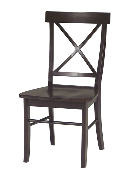 X-Back Hardwood Dining Chairs with Upholstered Seats - 2 Pack - UnfinishedFurnitureExpo