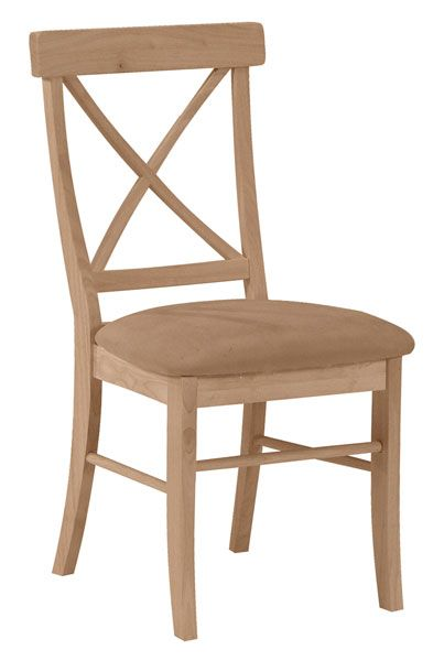 X-Back Hardwood Dining Chairs with Upholstered Seats - 2 Pack