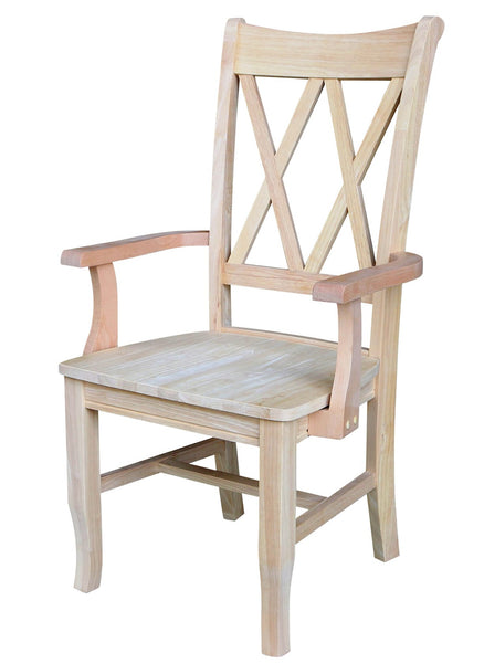 Double X Back Hardwood Arm Chair