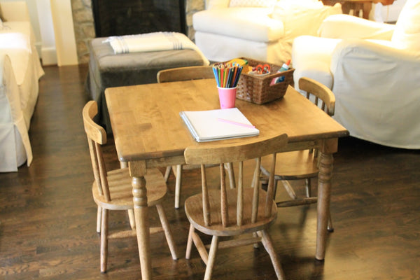 Solid Hardwood Kids's Table & Chair Set