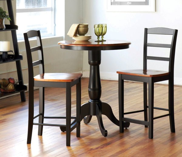Pub Table & 2 Cafe Stools - Finish Options - UnfinishedFurnitureExpo