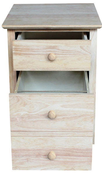 Hardwood 2-Drawer Rolling File Cabinet - UnfinishedFurnitureExpo