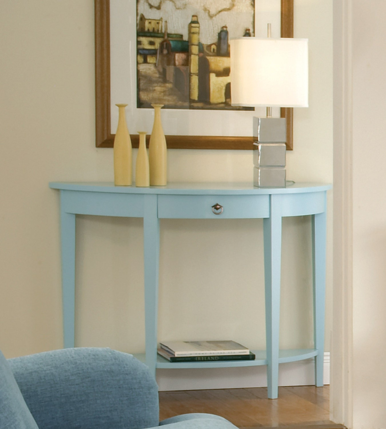 Half Moon Console Table With Drawer Amp Shelf Free