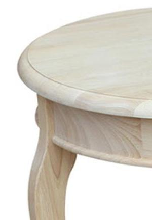 "Cambria Hardwood Side/Accent Table - 18"" Diameter - UnfinishedFurnitureExpo"