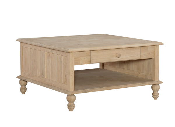 "Cottage Square Hardwood Coffee Table - 34"" - UnfinishedFurnitureExpo"