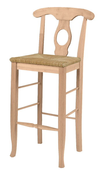 Empire Unfinished Hardwood Bar Stool with Rush Seat - UnfinishedFurnitureExpo
