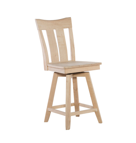"Ava Hardwood 24"" Counter Stool - UnfinishedFurnitureExpo"