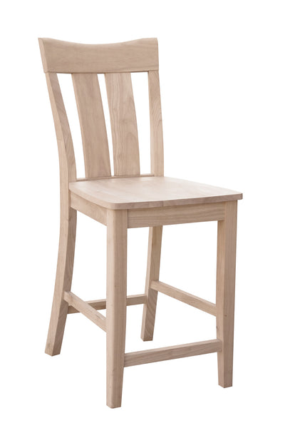 Ava Hardwood Bar Height Stool - UnfinishedFurnitureExpo