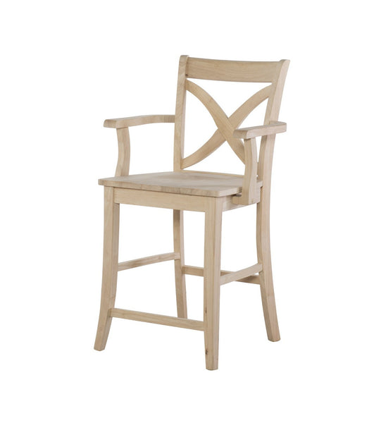 "Vineyard Hardwood Stool with Arms - 24"" - UnfinishedFurnitureExpo"