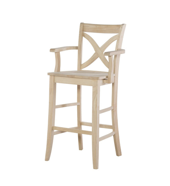 Vineyard Hardwood Stool with Arms - 30""