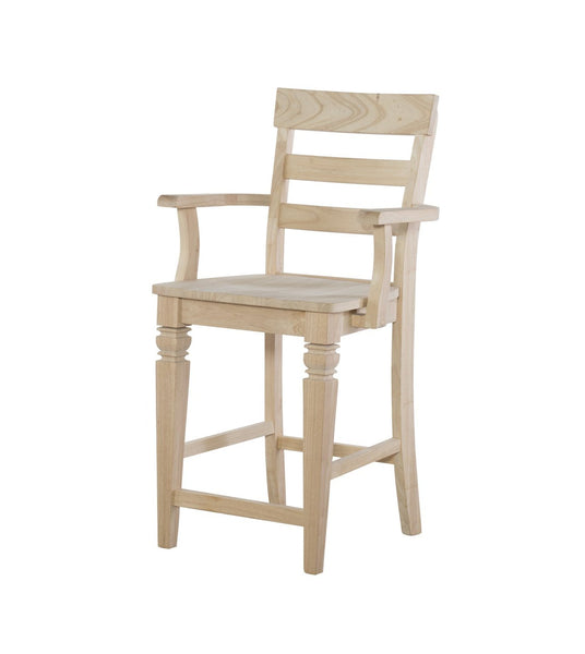 Java Hardwood Counter Stool with Arms - UnfinishedFurnitureExpo