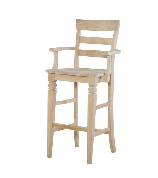 Java Hardwood Bar Stool with Arms