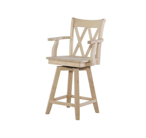 Unfinished XX-Back Swivel Counterstool with Arms