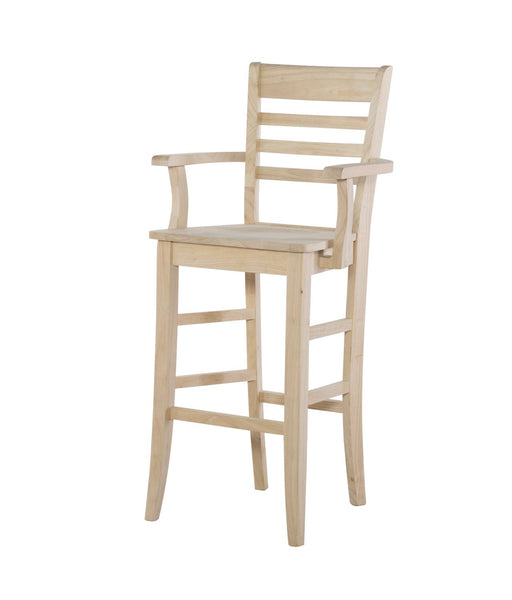 Roma Ladderback Hardwood Bar Height Stool with Arms