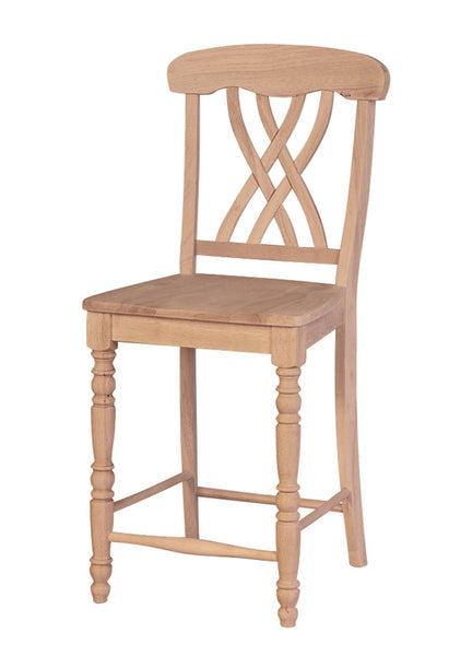 "Lattice Back 24"" Hardwood Counter Stool - UnfinishedFurnitureExpo"