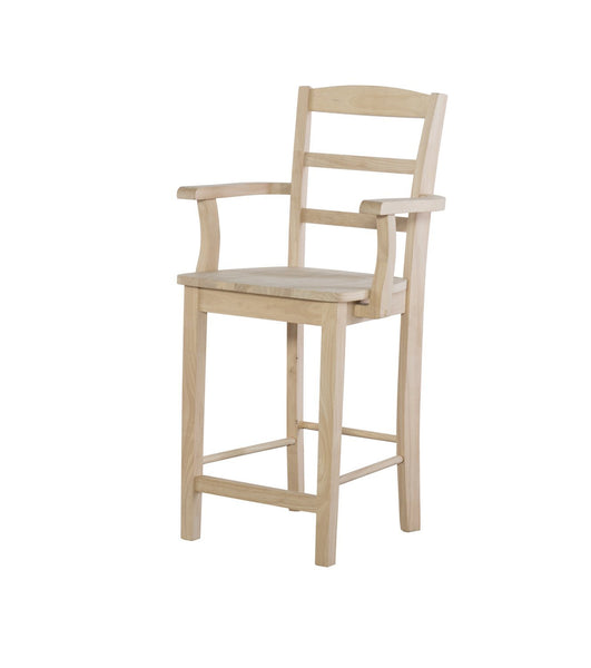 "Madrid Hardwood 24"" Counterstool with Arms - UnfinishedFurnitureExpo"