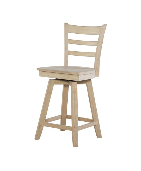 Emily Hardwood Counter Height Swivel Stool - UnfinishedFurnitureExpo
