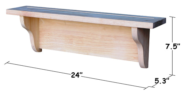 "Hardwood Wall Shelf - 24"" - UnfinishedFurnitureExpo"