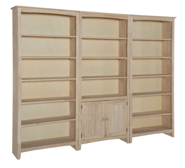 "Shaker Hardwood Bookcase - 32"" Wide x 72"" Tall (Both Sides Flush) - UnfinishedFurnitureExpo"