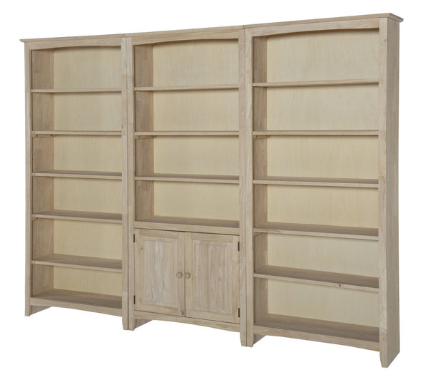 "Shaker Hardwood Bookcase - 32"" Wide x 84"" Tall (Both Sides Flush) - UnfinishedFurnitureExpo"
