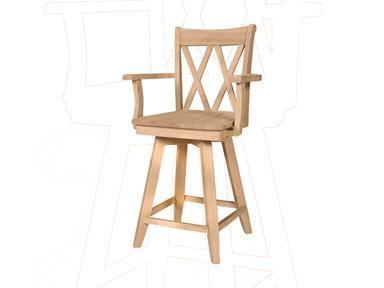 XX-Back Swivel Bar Stool with Arms - UnfinishedFurnitureExpo