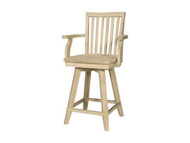"Mission 30"" Hardwood Bar Stool with Arms - UnfinishedFurnitureExpo"