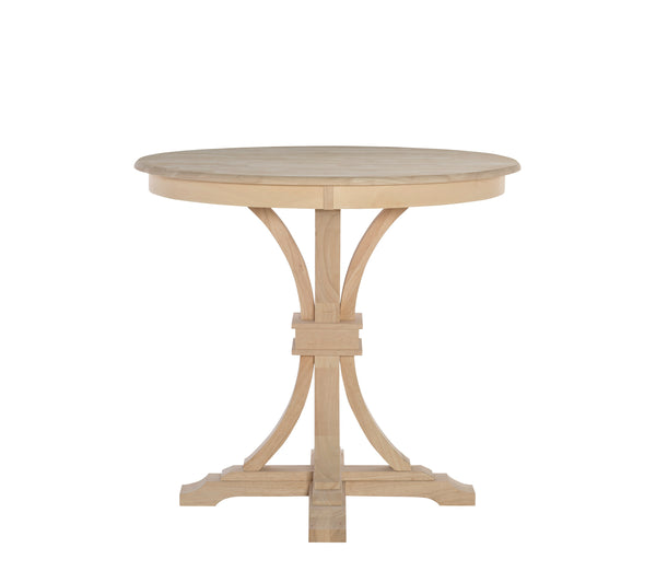 Paige Flair Round Hardwood Table and Pedestal (Choose Size & Height)