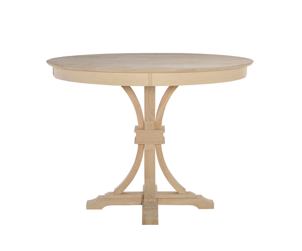 Paige Flair Round Hardwood Table and Pedestal (Choose Size & Height) - UnfinishedFurnitureExpo