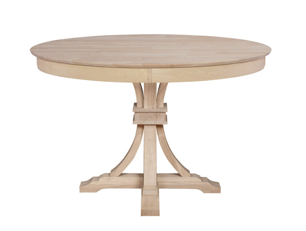 "48"" Sienna Round Table with Flair Pedestal (Choose Height) - UnfinishedFurnitureExpo"
