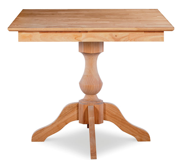 "Square Hardwood Dining Table - 36"" x 36"" (3 Optional Pedestals)"