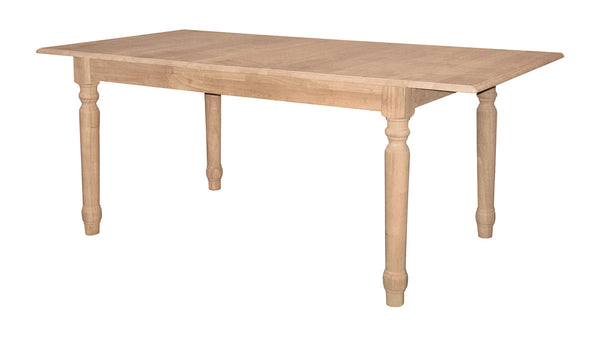 "Butterfly Leaf Extension Table with Turned Legs - 36"" x 60"" - UnfinishedFurnitureExpo"