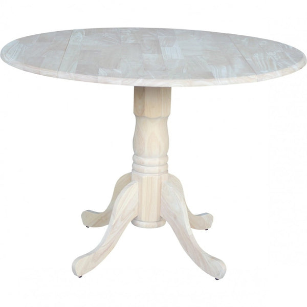 "Queen Anne Hardwood Dropleaf Pedestal Table - 42"" (Finish Options) - UnfinishedFurnitureExpo"