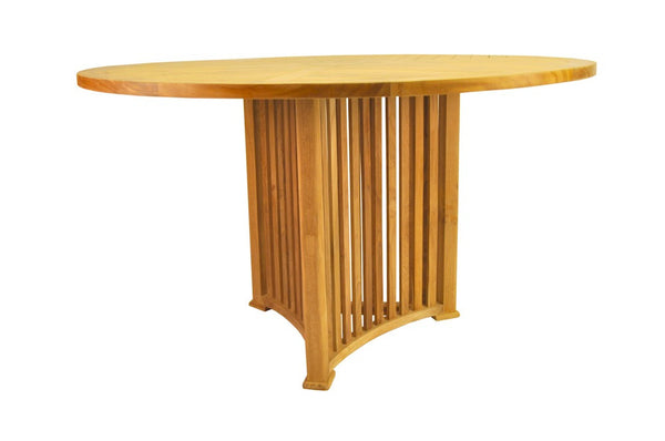 "Mission 51"" Round Teak Table - UnfinishedFurnitureExpo"