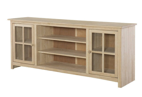 abigail hardwood entertainment stand 72 unfinishedfurnitureexpo - Entertainment Centers With Bookshelves