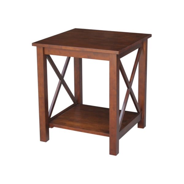 "Hampton Hardwood X-Sided End Table (Finished Options) - 22"" - UnfinishedFurnitureExpo"