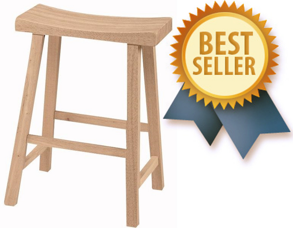 "24"" Hardwood Saddle Seat Stool - 2 Pack (Finish Options) - UnfinishedFurnitureExpo"