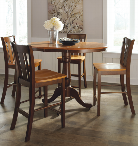 "36"" Round Hardwood Dining Table with Leaf (Extends to 48"") - UnfinishedFurnitureExpo"