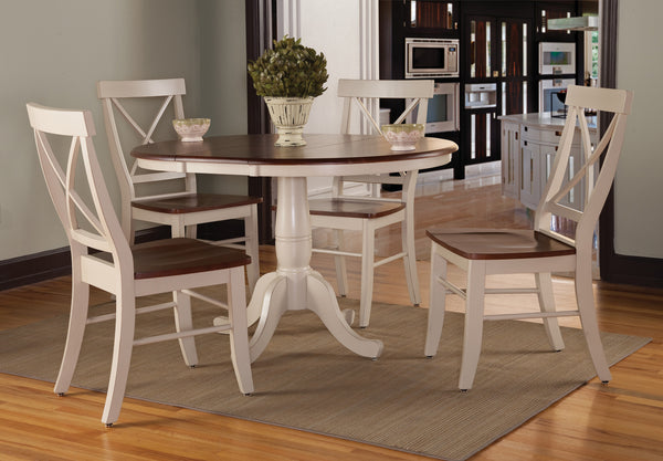 "36"" Round Hardwood Dining Table with Leaf (Extends to 48"")"