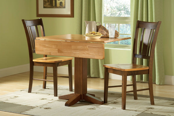 "Unfinished Hardwood Square Drop-Leaf Dining Table - 36"" (Choose Finish)"