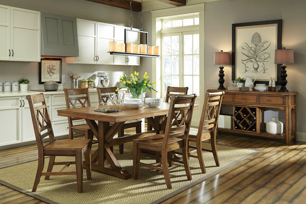 """Canyon"" Unfinished Solid Hardwood Trestle Dining Table - UnfinishedFurnitureExpo"
